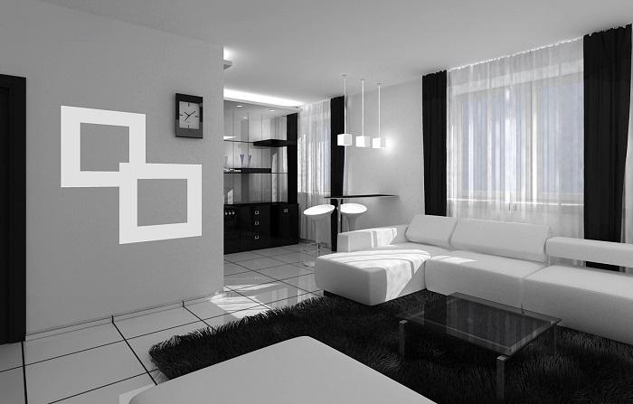 Фото квартир в черно белых