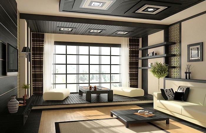 Дизайн гостиной в деревянном доме_японский стиль